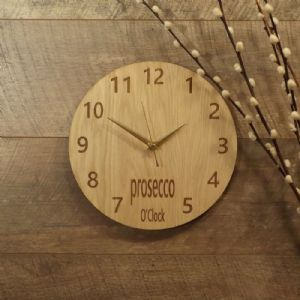 Prosecco O'Clock Wooden Wall Clock for Prosecco Lovers (G1)